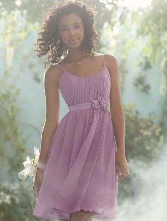 Style 504 This fairy tale bridesmaid dress is whimsical and lovely, with a flowing skirt and scoop neckline. Beading and flowers at the waist add an extra touch of delight for your Royal Maidens.