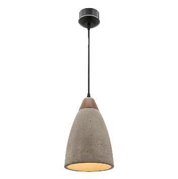 DANSKA - Concrete Shade & Natural Timber Pendant - 190mm Dia (Globe Not Included)