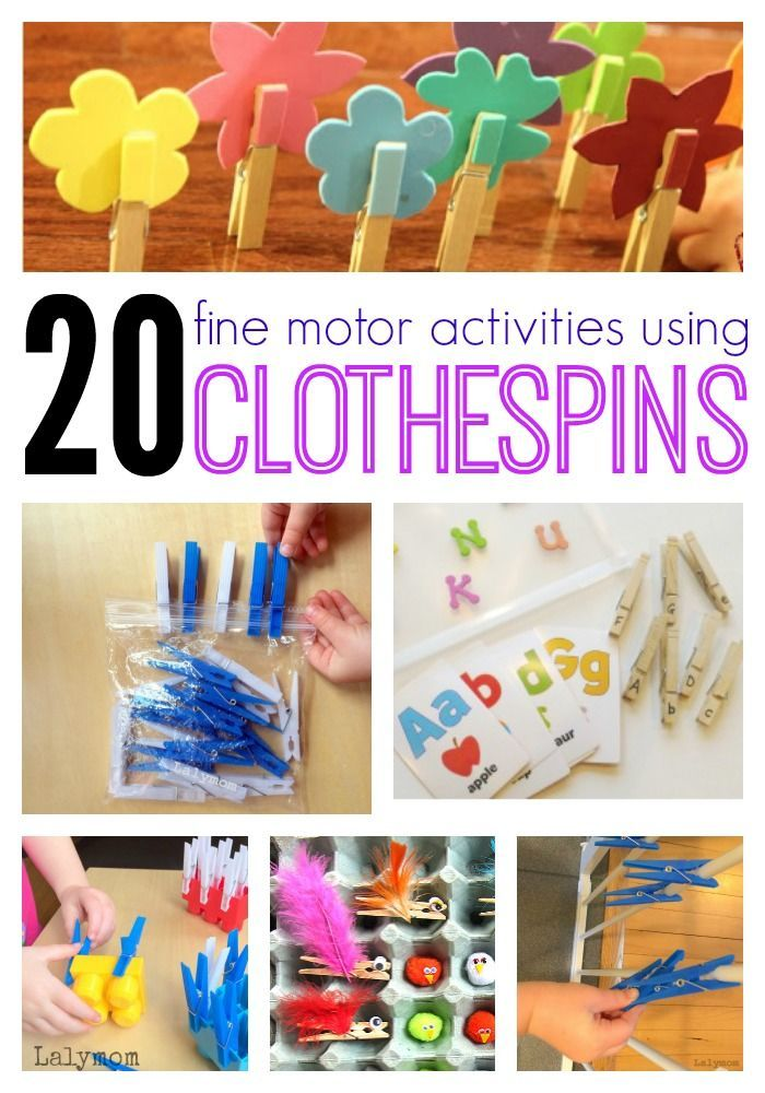 20 Fine Motor Skills Activities for Kids Using Clothespins on Lalymom.com - Click through to see all the ideas!