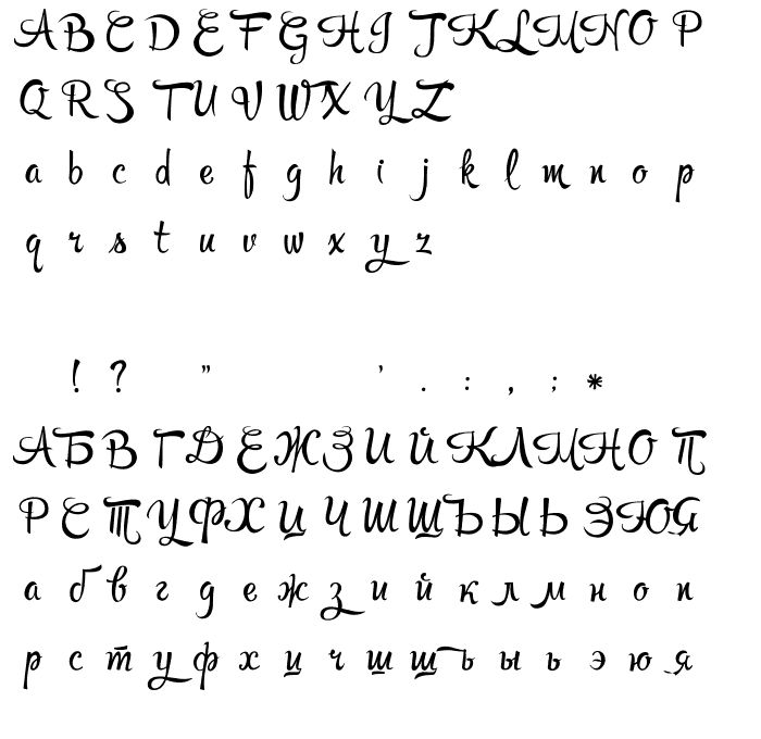 Буквы RupsterScriptFree