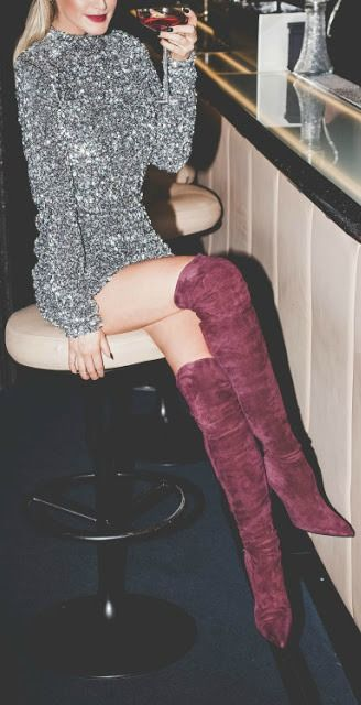 Burgundy over the knee boot + mini dress.