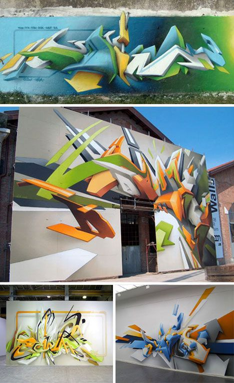 3D Wall Graffiti Tagging by Daim | WebUrbanist