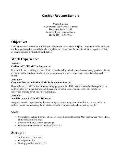 sample of resume for cashier