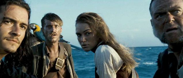 Keira Knightley as Elizabeth Swann in The Pirates of the Caribbean. [Elizabeth on the longboat after leaving Jack Sparrow for the Kraken.]