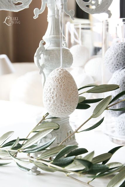 white crocheted eggs and greenery: MARX Living: March 2012