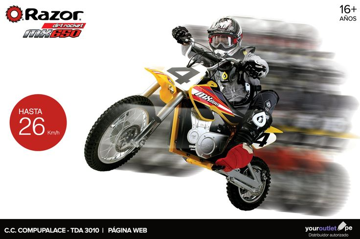 Desde un paseo hasta aventuras en todo terreno sobre dos ruedas con la moto eléctrica Dirt Rocket MX650 de Razor.  A la venta en nuestro showroom 3010 en Compupalace o en línea. Enviamos a todo el Perú.