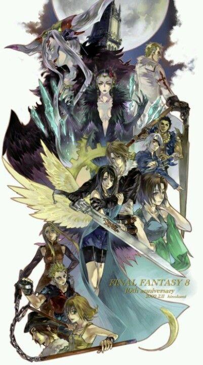 Final Fantasy 8 da chömed erinnerige hoch, das isch eis vo mine allererste games wo ich damals no uf mine ps1 gspielt han *.* oh wie ich das game gliebt han. ich has niemals chönne fertig spiele, da ich mich ned so gschied vorbereitet han und zum erste mal wos mir fast glunge isch de scheiss fuck endgegner  zbesiege lauft mini mum vorem fernseh dure bliebt am stecker vode ps hänge und zack - schwarz... eine vode dramatischte moment i mine chindheit... -Skyrenia