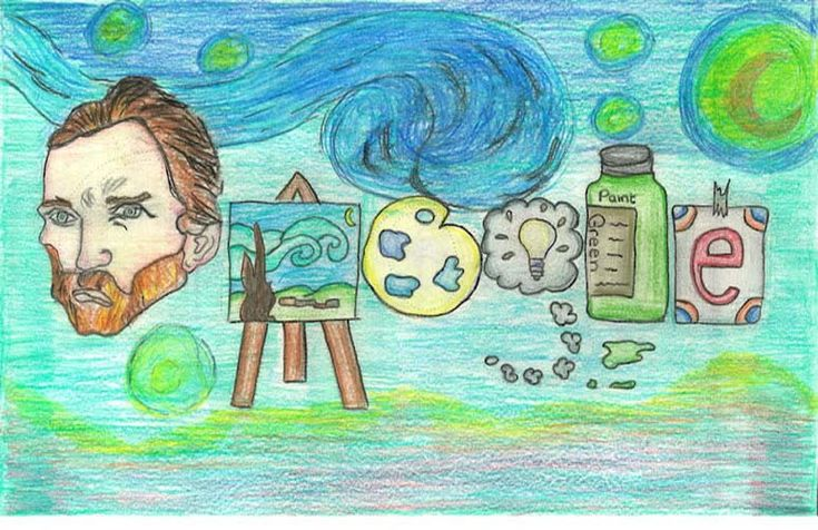 """2012 Doodle 4 Google State Finalists """"If I could travel in time, I'd visit…"""""""