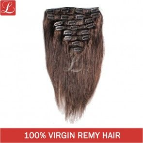 Dark Brown Color #2 Straight Human Remy Hair 20Clips 8pieces/set Clip In Extensions http://www.latesthair.com/