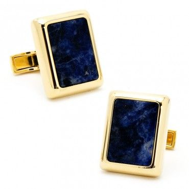 Gold and Lapis JFK Presidential Cufflinks - Courtney Cachet (Celebrity Designer) - Valentine's Day Curated Guides - Holiday Gift Guide | Cufflinks.com