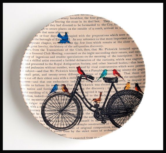 Antique Bike Melamine PLATE Dinner Plate Bicycle Plate Cake Plate Dictionary Art Book Page Print Melamine Plate