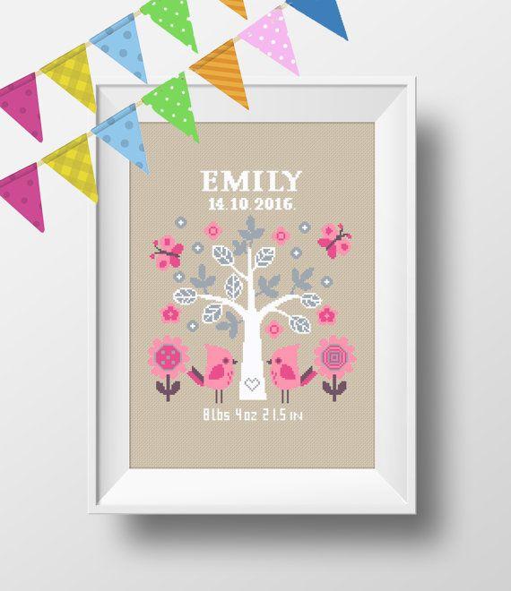 Baby Cross Stitch Pattern Baby Tree Personalized by NikkiPattern