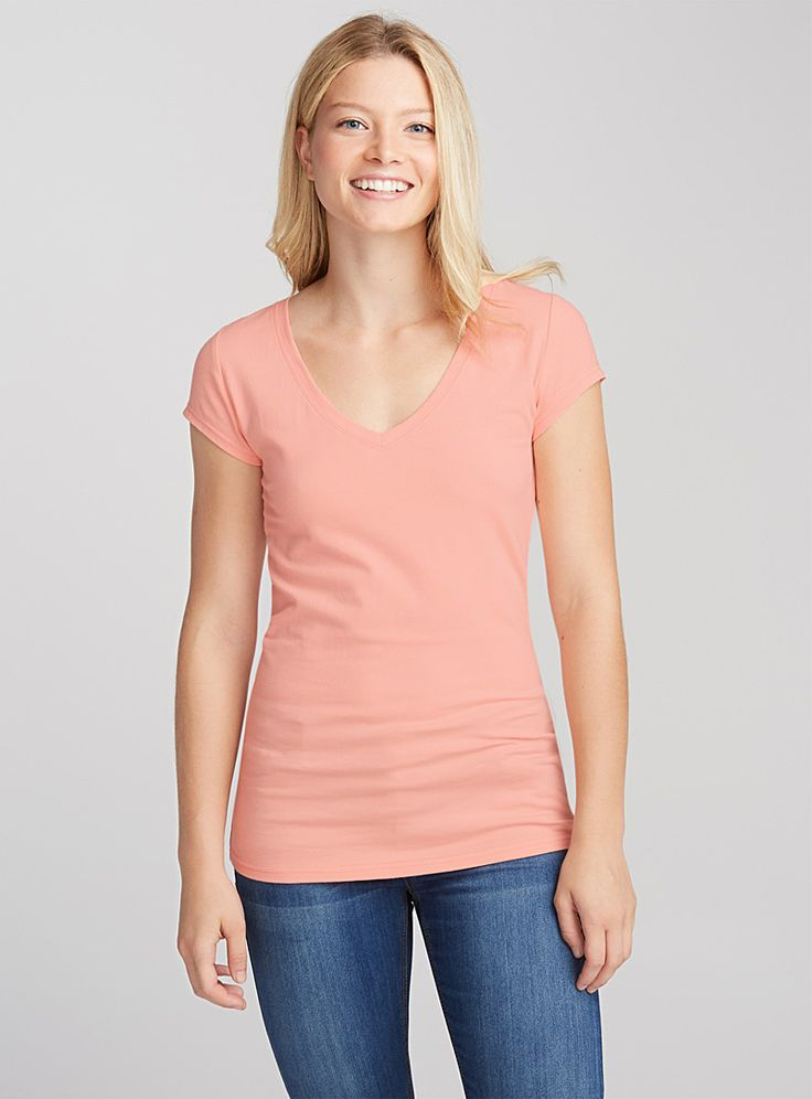 Organic cotton solid V-neck tee - Short Sleeves - Peach