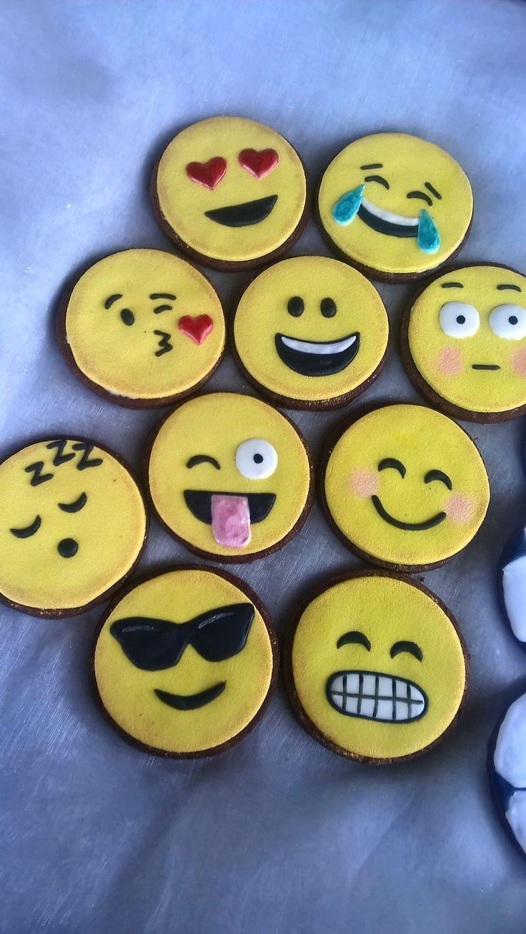 Emoji cookies. Yellow marzipan and royal icing.