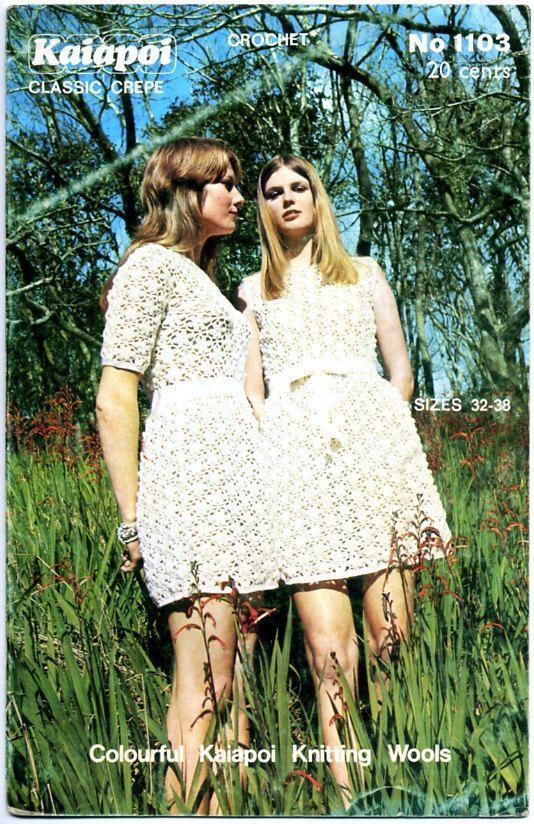 Vintage 1970s New Zealand Crochet Pattern Leaflet - Kaiapoi No. 1103 - Crochet Frock Dresses. $5.00, via Etsy.