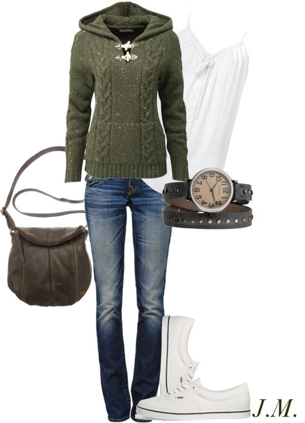 comfy fall...Green Sweaters, Design School, Casual Outfit, Style, Clothing, Casual Fall, Simple Comforters, Fall Sweaters, Fall Outfit