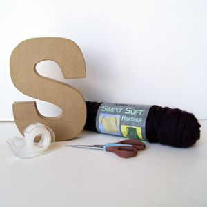 yarn covered letter (could be one letter, could be a word with each letter a different color yarn)