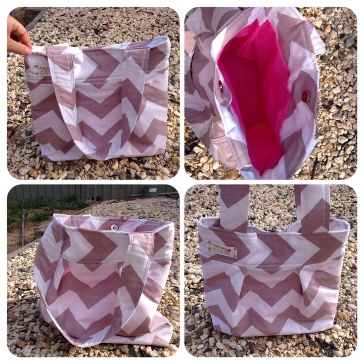 Grey Chevron Small Tote. Fully lined, made with re enforced Cotton outer and hot pink lining. $20. Also available with interior pockets and shoulder strap. $30.