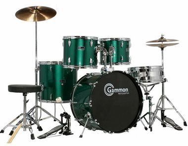 SR Series Metiallic Green Drum Set for Sale with Cymbals Hardware and Stool New Gammon 5-Piece Kit Full Size