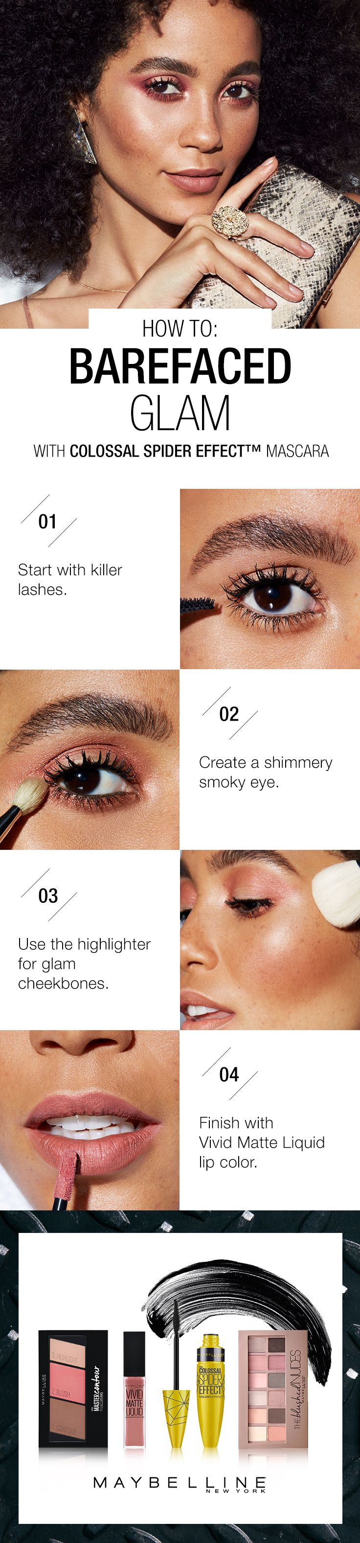 74 best get the look makeup 101 images on pinterest make up go glam with a natural makeup look tutorial for summer start with maybelline colossal spider ccuart Gallery