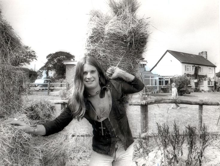 Ozzy Osbourne of Black Sabbath farming at his staffordshire home in July 1976.