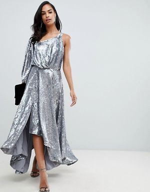 51b5d88fbc5 ASOS EDITION blouson one shoulder midi dress in holographic sequin ...