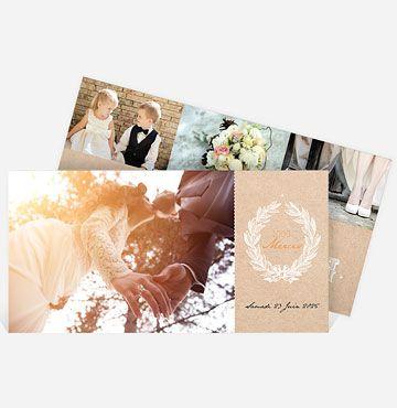 Avec la grande place qu'elle accorde aux photos, cette carte remerciement mariage vintage vous offre la possibilité de faire revivre à vos convives les meilleurs moments de votre mariage. Choisissez les plus belles photographies de cette journée pour réaliser un remerciement mariage unique. Réalisé dans de jolis tons de beige et d'orangé, ce modèle avec photo vous permet également d'insérer votre texte remerciement mariage ainsi que vos initiales joliment calligraphiées. Ce souvenir perso...
