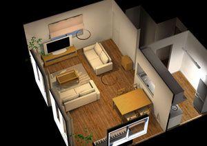20畳のリビングダイニングのレイアウト例を俯瞰して見たところ インテリア 家具 リビング 20畳 レイアウト