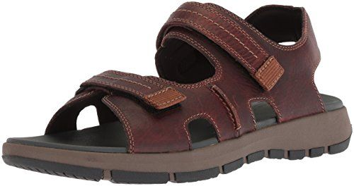 good texture on sale many styles Clarks Men's Brixby Shore Sandal, Dark Brown Leather, 12 ...
