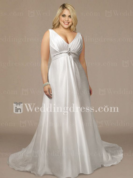 17 best images about wedding dresses on pinterest satin for Plus size silk wedding dresses