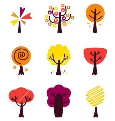 Colorful autumn trees set isolated on white vector 1639505 - by lordalea on VectorStock®