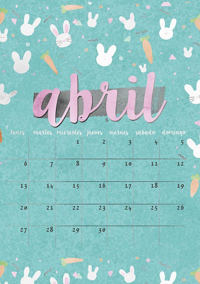 calendario abril: imprimible y fondo