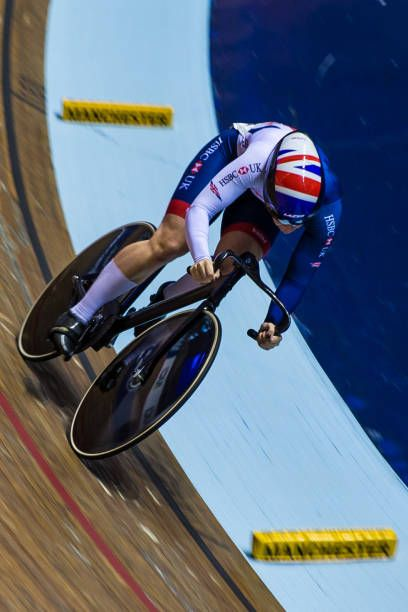 12th November 2017 HSBC UK National Cycling Centre Manchester England Tissot UCI Track Cycling World Cup Katy Marchant powers through the last bend...