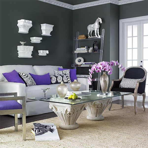 I Love The Dark Gray Walls Contrast With White And Purple Accent Funny How Is A Deeper Hue In Catalog Idk Which To