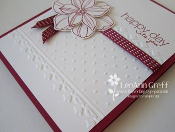 handmade card turtorial:  Double-time Embossing ... photo tutorial on the blog ... how to use just parts of the embossing folder in your design ...