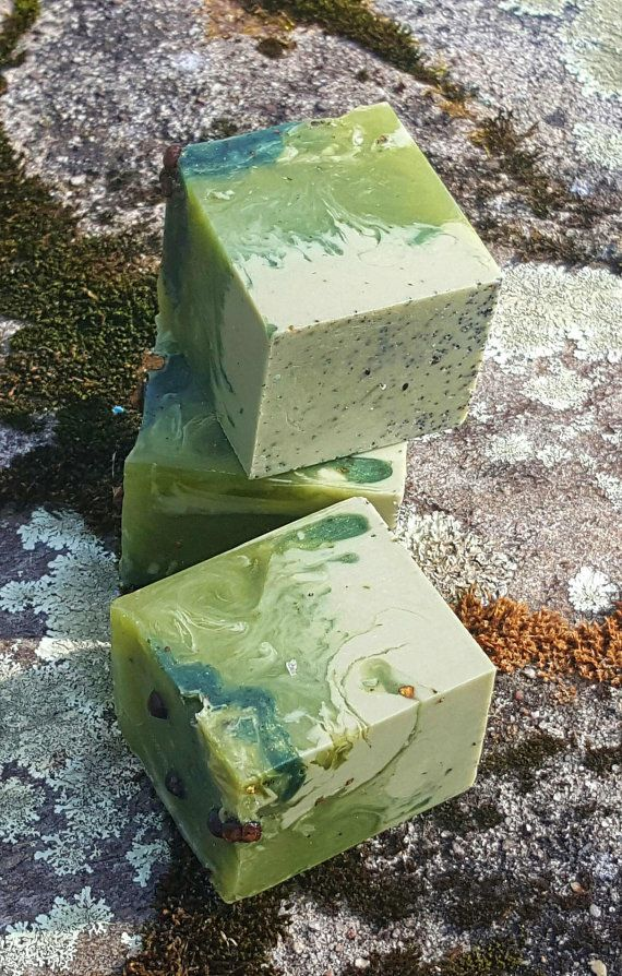 Spiced Spruce Handmade Vegan Soap. French green clay and Alfalfa powder not only color this soap but also give added skin loving benefits ♡  SunnyBungalow.com