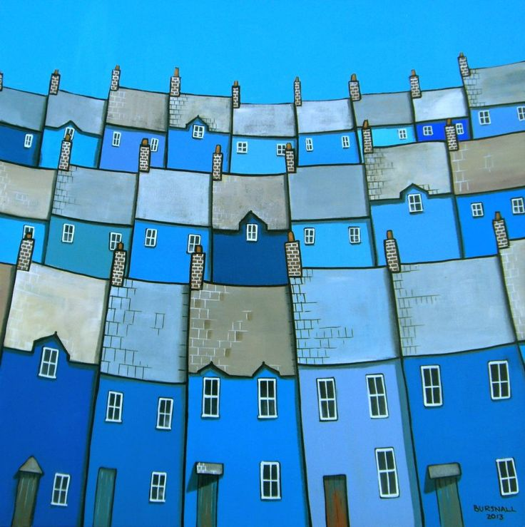 Rows of houses in different shades of blue. Painted on box canvas with the image around the edges. Ready to hang.