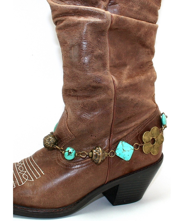 Turquoise and Bronze Beaded Boot Bling - Jewelry Accent to your Boots - Boot Jewelry