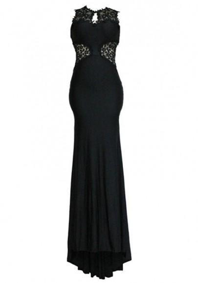 88445389f5c Black Lace Patchwork Elegant Backless Mermaid Evening Party Maxi Dress