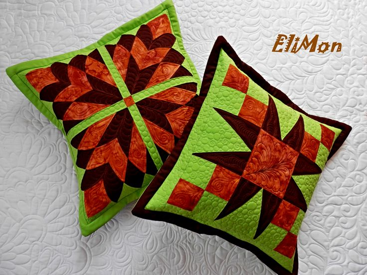Patchwork pillow, free motion quilting...green and braun colors