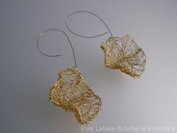 gold-plated WIRE EARRINGS  - delicate, ethereal leaves, handmade, unique by EcoDyeing on Etsy