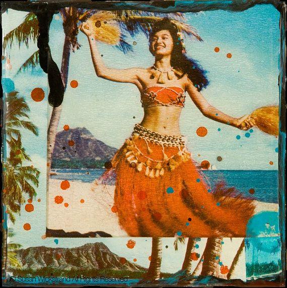 Hawaii Hula Dancer Waikiki Hula Honey home by susanwickstrand, $45.00