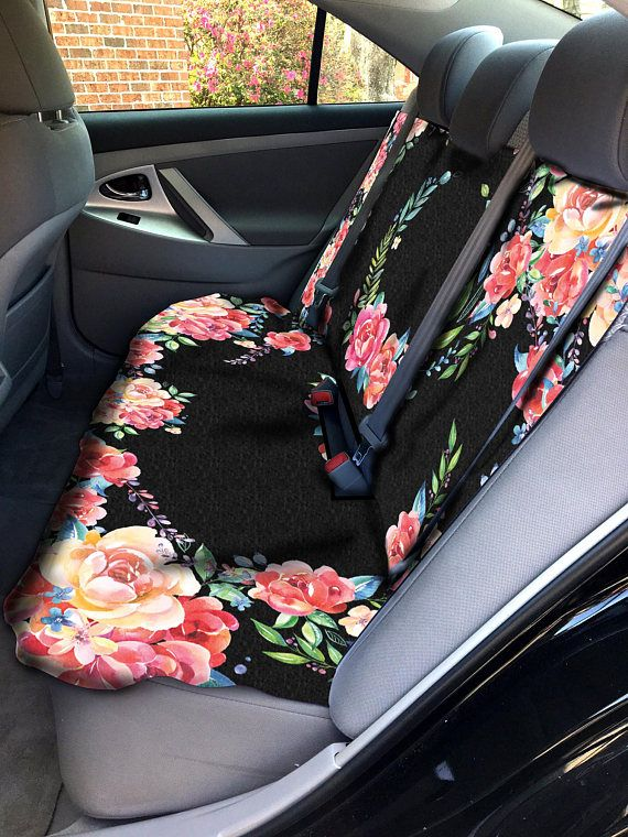 Classy Black Floral Car Seat Covers Set Of Two Front Seat