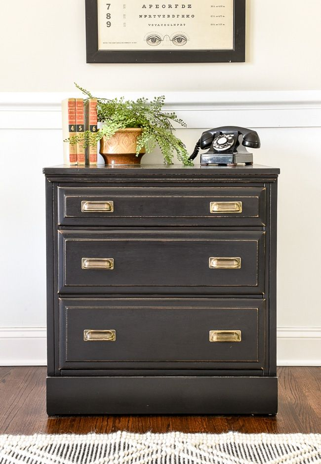 Dated Goodwill Dresser Turned Vintage Inspired Chest Black Painted Furniture Buy Used Furniture Dresser As Nightstand