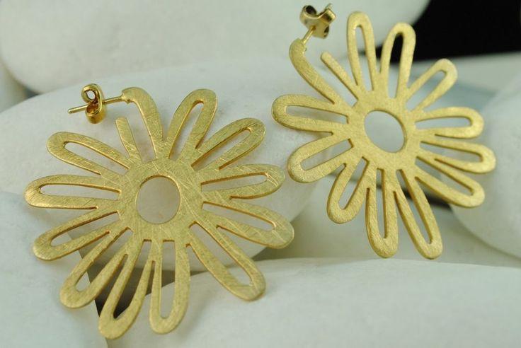 #Flower Handmade Gold Pltd Solid Sterling Silver #Hoop #Earrings #eternalelegance