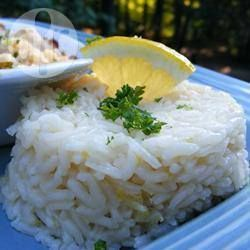 I'm game - Lemon and Ginger Rice.  Need: 2 teaspoons canola oil; 1 cup (150 g) basmati rice, rinsed; 1 (5 cm) piece fresh ginger, minced; 1 lemon, juiced and zested; 2 cups (500 ml) chicken stock; salt and ground black pepper to taste