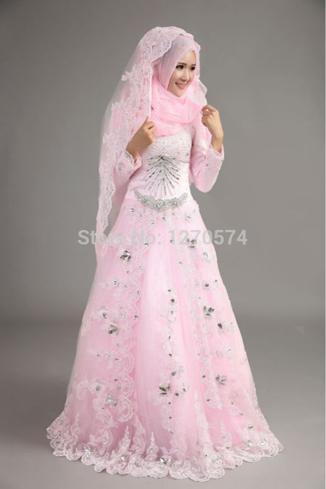 Cool Brides Dresses Elegant Muslim Bridal Dress Tulle Champagne Long Sleeves Lace With Wedding