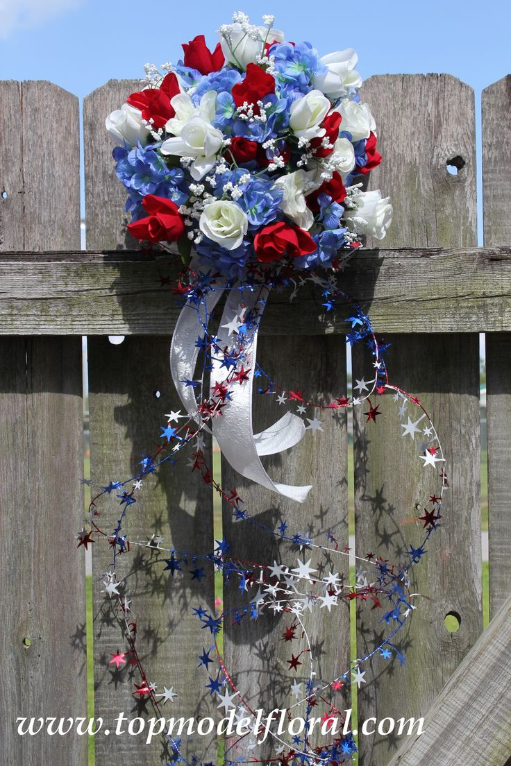 153 best images about 4th of july wedding on pinterest for Red white blue flower arrangements