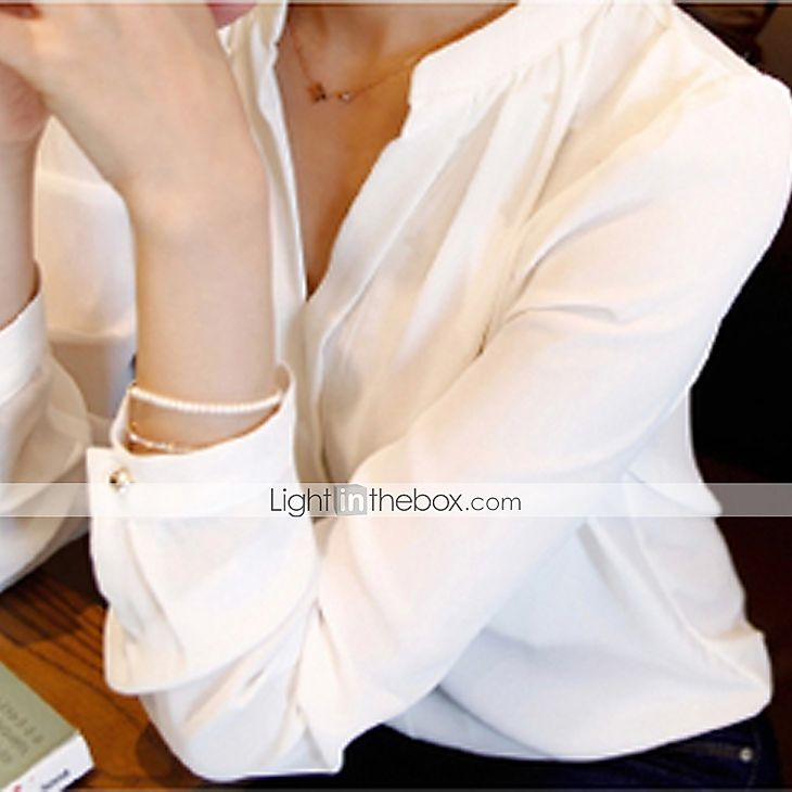2016年 女性 ワーク 春 ブラウス,シンプル Vネック ソリッド ホワイト ポリエステル 長袖 ミディアム 4928368 コレクション – $5.99