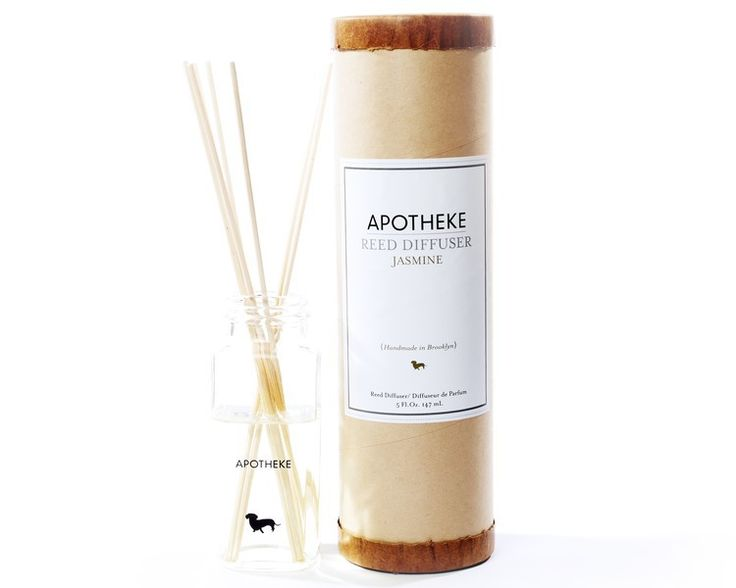 Apotheke Jasmine Diffuser :: Made with fragrance and perfume oils in an all natural glycerin base. Lasts approximately 5 months. To sustain fragrance turn your reeds over once a week. Made in Brooklyn, NY.